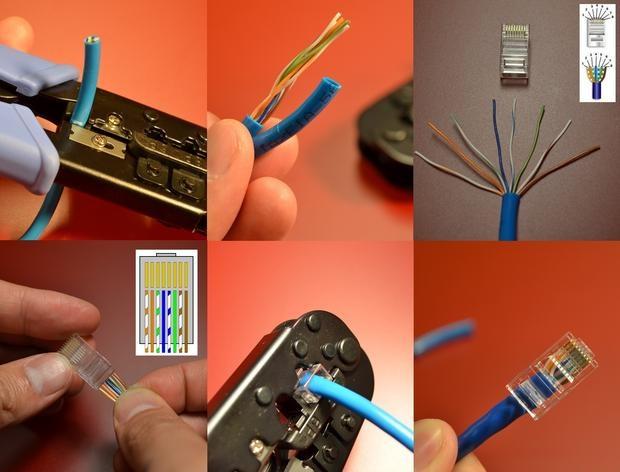 Цветовая маркировка обжима витой пары компьютер - компьютер